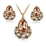 Dame Øredobber Halskjede Krystall Syntetisk Diamant Krystall Fuskediamant Legering Dråpe Klassisk Elegant Mote Engasjement Seremoni 1