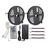 ZDM® 150 LED 2x 5M LED Strip Light 1 12V 6A adapter 1 44Kjør fjernkontrollen 4 kontakter RGB Kuttbar Selvklebende AC100-240