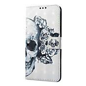 Funda Para Samsung Galaxy S9 S9 Plus Soporte de Coche Cartera con Soporte Flip Magnética Funda de Cuerpo Entero Cráneos Dura Cuero de PU