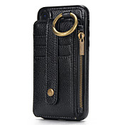 Funda Para Apple iPhone X iPhone 8 Soporte de Coche Cartera Funda de Cuerpo Entero Color sólido Dura piel genuina para iPhone X iPhone 8
