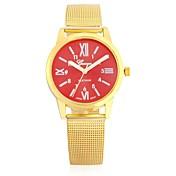 JUBAOLI Hombre Mujer Cuarzo Reloj Casual Chino Reloj Casual Aleación Banda Destello Cool Marrón Dorado