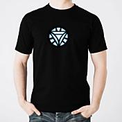 LED T-skjorter Glødende Ren bomull LED Fritid 2 AAA Batterier