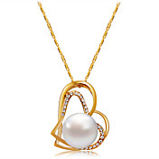 Mujer Corazón Zirconia Cúbica Perla artificial Oro rosa Perla Artificial Zirconio Collares con colgantes  -  Clásico Moda Dorado