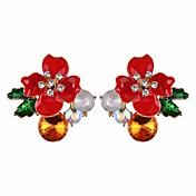 Mujer Floral Flor Cristal Pendientes cortos / Pendients de aro - Floral / Elegant / Moda Amarillo / Rojo / Azul Aretes Para Diario /
