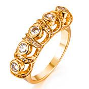 Mujer Zirconia Cúbica Chapado en Oro Anillo de banda - Forma Geométrica Moda Dorado anillo Para Boda / Regalo