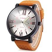 JUBAOLI Hombre Cuarzo Reloj Casual Chino Esfera Grande Piel Banda Cool Marrón