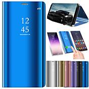 Etui Til Samsung Galaxy A8 2018 A8 Plus 2018 Støtsikker Speil Flipp Auto Sove/Våkne Heldekkende etui Ensfarget Hard PU Leather til