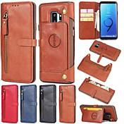 Etui Til Samsung Galaxy S9 S9 Plus Kortholder Lommebok med stativ Flipp Bakdeksel Heldekkende etui Ensfarget Hard ekte lær til S9 Plus S9