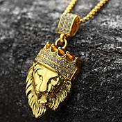 Hombre Collares con colgantes - Chapado en oro 18K, Diamante Sintético León, Animal, Corona Personalizado, Rock, Hip-Hop Dorado Gargantillas 1pc Para Fiesta, Regalo, Diario