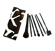 7pcs Makeup Brushes set Brown Cow Powder/Foundation/Concealer/Blush/Shadow/Eyeliner/Lip/Brow/Lashes Cosmetic Bag