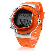 Hombre Reloj Deportivo Digital Despertador Calendario Cronógrafo Pulsómetro LCD Caucho Banda Naranja