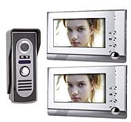 Недорогие -7-дюймовый цветной TFT LCD видео домофон системы (1 камера с 2 монитора)