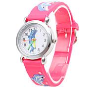 Children's Cartoon Dolphin Pattern Red Silicone Band Quartz Analog Wrist Watch Cool Watches Unique Watches Fashion Watch Strap Watch