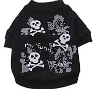 abordables -Perro Camiseta Ropa para Perro Cráneos Negro Algodón Disfraz Para mascotas Hombre Mujer Moda Halloween
