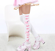 cheap -Socks / Long Stockings Thigh High Socks Sweet Lolita Dress Lolita Sweet Lolita Lolita Women's White Blue Lolita Accessories Print Deer