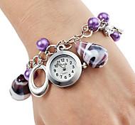 Недорогие -Женские Модные часы Часы-браслет Кварцевый Нержавеющая сталь Группа Элегантные часы Фиолетовый