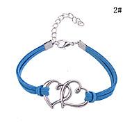 estilo coração dobro padrão liga de couro encanto estilo elegante pulseira