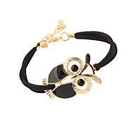 cheap -Women's Charm Bracelet Vintage Bracelet Basic Cute Style Costume Jewelry Vintage Adjustable Leather Acrylic Feather Alloy Owl Jewelry For