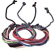 Vintage Style Genuine Leather Braided Cord Bracelet(Random Color)