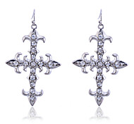 Gothic Style Crystals Cross Earrings