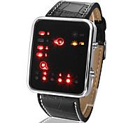 cheap -Men's Digital Wrist Watch Calendar / date / day LED PU Band Casual Cool Black