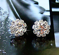Women's Stud Earrings Basic Simple Style Fashion Costume Jewelry Crystal Zircon Cubic Zirconia Imitation Diamond Alloy Flower Sunflower
