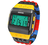 cheap -Men's Watch Sports Block Bricks Style LCD Digital Colorful Plastic Band Wrist Watch Cool Watch Unique Watch Fashion Watch