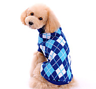 Dog Sweater Dog Clothes Winter Spring/Fall Plaid/Check Fashion Classic Blue