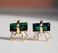 Mode (Triangle baisse) or plaquées argent Boucles d'oreilles Gem (vert)