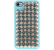 Silber Spitznieten Hartschalen-Gehäuse mit Kleber für iPhone 4/4S (verschiedene Farben)