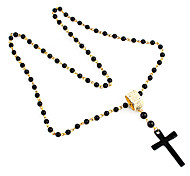 Fashion Beads With Cross Shape Pendant Necklace
