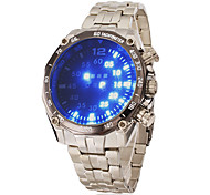 Men's Blue Led Digital Round Dial Steel Band Wrist Watch Cool Watch Unique Watch Fashion Watch