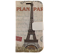 Eiffel Tower Drawing Pattern Faux Leather Hard Plastic Cover Pouches for Samsung Galaxy S3 I9300