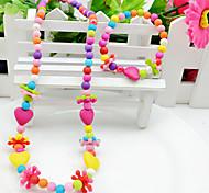 Girl's Colorful Heart Jewelry Set (Necklace&Bracelet)(Random Color)