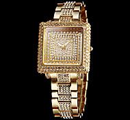 cheap -Women's Sparkle Diamond Square Dial Steel Band Quartz Wrist Watch