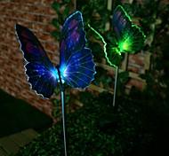 Недорогие -1-светодиодный красочный свет привело солнечный свет волоконно-оптических бабочек кола света (2 шт)