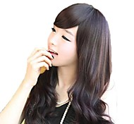 Fashion Long Body Wavy Nature Black Synthetic Side Bang Wig Heat Resistant Fiber Cheap Cosplay Party Wig Hair