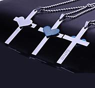 Недорогие -Персональный подарок из нержавеющей стали Сердце Библия Крест гравировкой ожерелье с 60см цепи