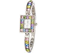 Women's Colorful Diamante Rectangle Dial Quartz Analog Bracelet Watch Cool Watches Unique Watches