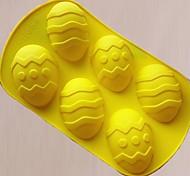 6 отверстий Пасхальные яйца Форма торта Плесень, силикон Материал, Большой размер, случайный цвет