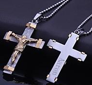 Недорогие -Персональный подарок ювелирные изделия нержавеющей стали Иисус крестообразный гравировкой ожерелье ювелирных изделий с 60см цепи