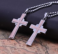 Недорогие -Персональный подарок розовое золото Мужская нержавеющей стали Креста формы с гравировкой ожерелье ювелирных изделий с 60см цепи