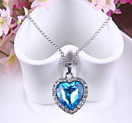 cheap -Women's Heart Shape Love Fashion Pendant Necklace Synthetic Sapphire Austria Crystal Alloy Pendant Necklace Wedding Party Special