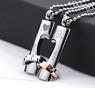Personalized Gift  Couple Lovers Stainless Steel Jewelry   Engraved Pendant Necklace with  60cm Chain