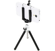 I-12-3-BK Mini Desktop Aluminum Tripod with Single-deck Three Sections (Sliver&Black) & Mobile Phone Tripod Mount Holder