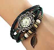 cheap -Women's Quartz Bracelet Watch Casual Watch PU Band Leaves / Bohemian / Fashion Black / Red / Orange / Brown / Green