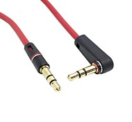 cheap -1m 3ft 90 Degree Angled Type Stereo Audio 3.5mm to 3.5mm Male 3 Pos. Line In Car Aux Cable Red Color