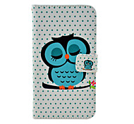 Sleeping Owl Cartoon Pattern Leather Full Body Soft Case with Stand for Samsung Galaxy Note3 N9000