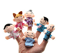 cheap -Family Finger Puppets Puppets Cute Family Interaction Parent-Child Interaction Lovely Novelty Plush Girls' Gift 6pcs