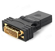 HDMI Female to DVI 24+1 Male Rotary Adapter - (Black)